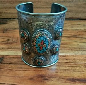 Handmade Indian Silver Metal Cuff Bracelet